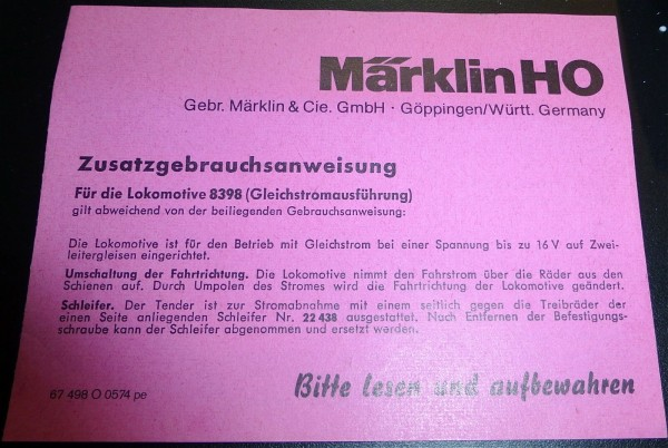 8394 Märklin Zusatzgebrauchsanleitung 67 498 O 0574 pe