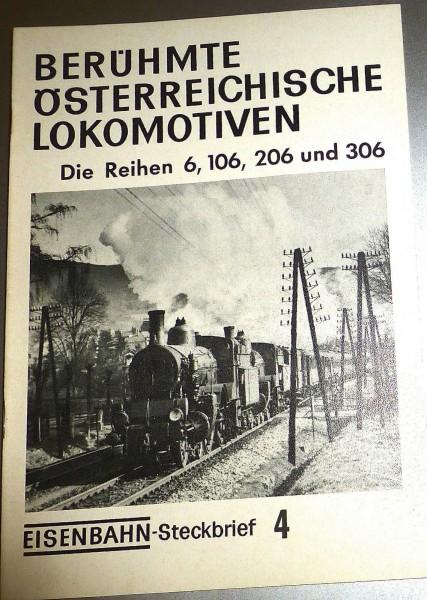 Eisenbahn Steckbrief 4 Berühmte Österreichische Lokomotiven Rh 6 106 HJ3 å *