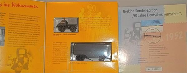 Unimog 411 Mercedes mit Kofferanhänger Übertragungsdienst BP BREKINA OVP 1/87 H0