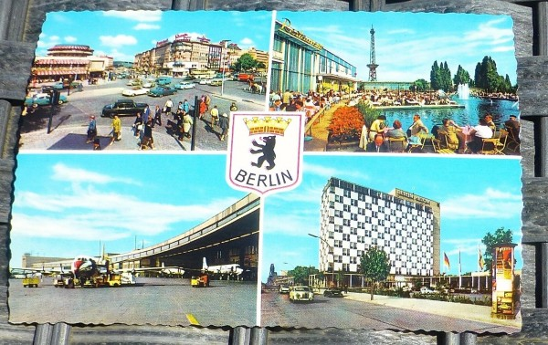 Ernst Reuter Platz Nacht Berlin Ansichtskarte 50er 60er Jahre KRÜGER 921/61 å *