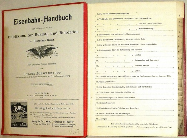 Schwarzkopf's Eisenbahn-Handbuch Gebrauch für Deutschen Reich Greiner HR4 å *