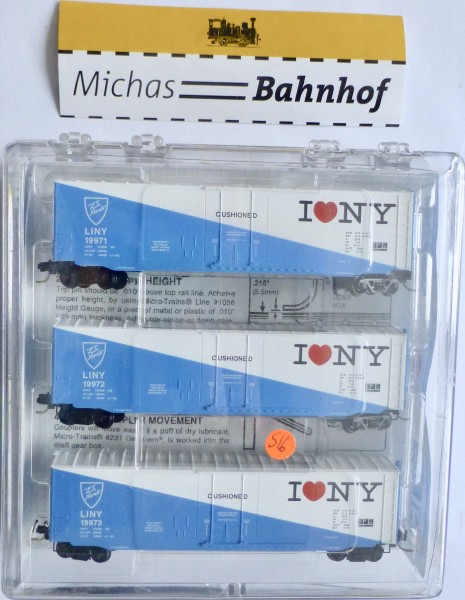 3x Long Island Ntrak 50' Standard Box Car Micro Trains Line 97-45 N 1:160 S16 å-Copy