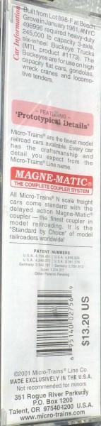 Micro Trains Line 109020 New York Central Heavyweight DC Flat Car OVP 1:160 B å*