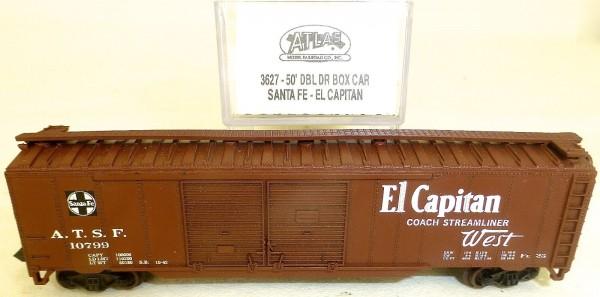 Santa Fe El Capitan 50' DBL DR BOX CAR Güterwagen US ATLAS 3627 N 1:160 OVP å *