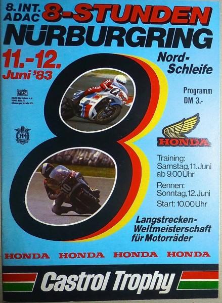8. Int. ADAC 8-Stunden ADAC 11.-12. Juni 83 Motorräder WM Nürburgring II05 å *