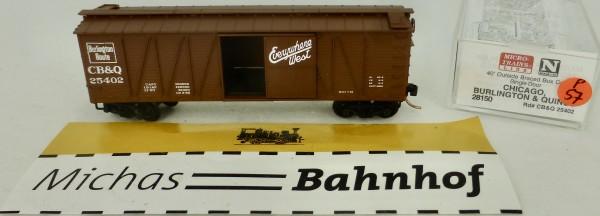 Chicago Burlington 40' Outside Braced Box Car Micro Trains Line 28150 1:160 P57å