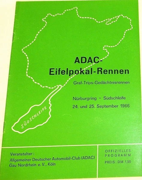 24.u 25. Sept 1966 ADAC Eifelpokal Rennen Trips Nürburgring PROGRAMMHEFT VI10å *