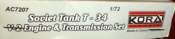 Soviet Tank T 34 V2 Engine Transmission Set 1:72 Kora models AC7207 OVP å