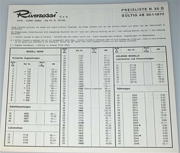 Rivarossi Preisliste N 35 D 1970 å