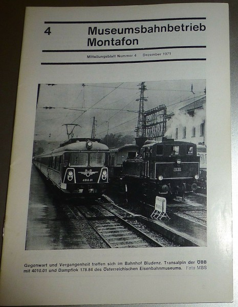Museumsbahnbetrieb Montanfon Mitteilungsblatt 4 Dezember 1971 HJ3 å *