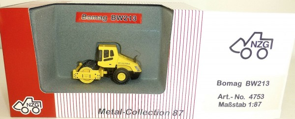 3 x Bomag Straßenwalze gelb NZG 475 4752 4753 Metall Collection 1:87 OVP µ *