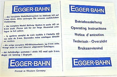EGGER-BAHN Betriebsanleitung Egger H0e Schmalspur