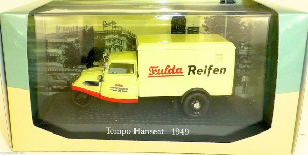 Tempo Hanseat 1949 Fulda Reifen 1:43 Atlas 7421108 NEU in BOX #HS5 µ *
