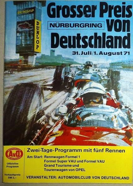 31.Juli/1.August 71 Grosser Preis v Deutschland Nürburgring Programmheft å IV09*