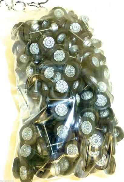 100 x Radsatz 27mm Achsbreite silber Felge Plastik Herpa Albedo 1:87 R255 å *