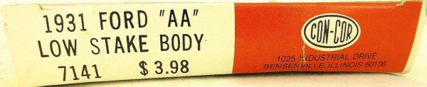 Con-Cor 1931 FORD AA Low Sake Body Concor Bausatz ungebaut H0 1:87 OVP å *
