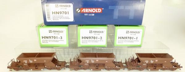3-tlg Set Fac Selbstentladewagen 4-achs DBAG EpV ARNOLD HN9701 TT 1:120 NEU µ