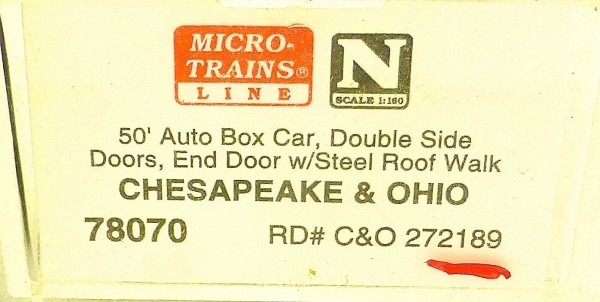 Micro Trains Line 78070 Chesapeake Ohio 272189 50´ Box Car 1:160 OVP #E å *