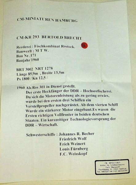 Berthold Brecht CM KR 293 Schiffsmodell 1:1250 SHP486 å *