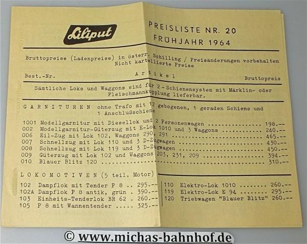 Liliput Preiliste Nr 20 Frühjahr 1964 å