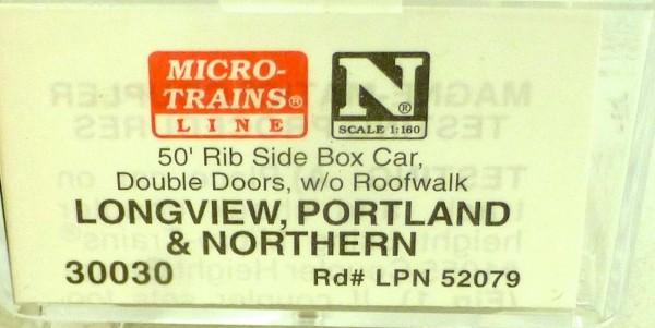 50´ Rib Side Boxcar Longview LPN 52079 Micro Trains Line 30030 N 1:160 C å*