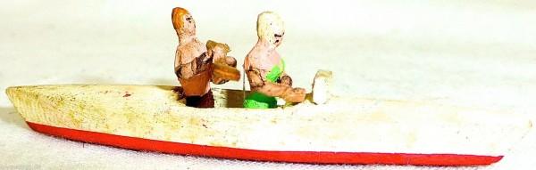 Paddelboot rot mit zwei Personen ein Paddler Holz Preiser 1:87 H0 GD1 PR26 å *