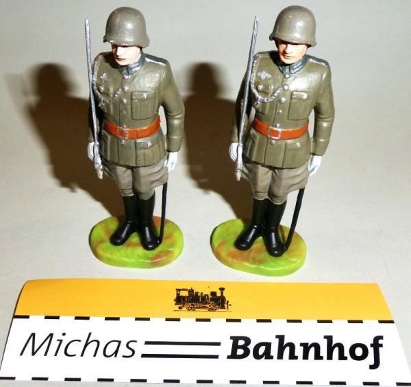 2x Offizier Säbel hoch Soldaten Elastolin Kunststoff 8,5cm #4 HH4å