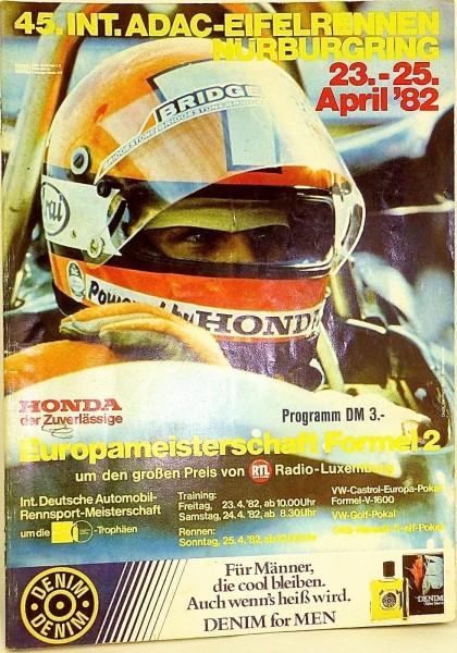 23.-25. APRIL 1982 45. Int. ADAC Eifelrennen Nürburgring PROGRAMMHEFT X03 å *