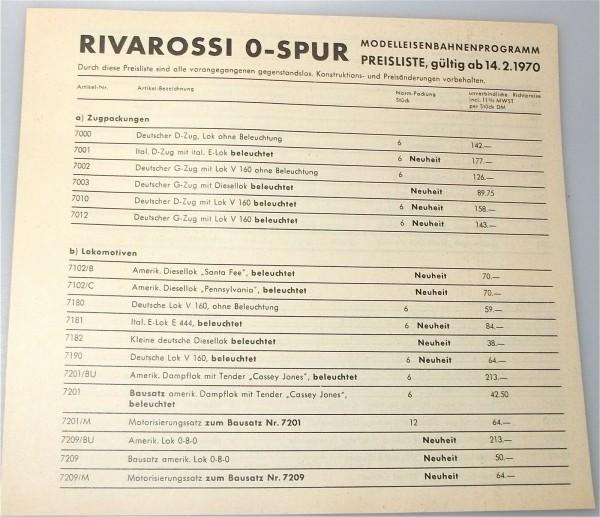 Rivarossi Spur 0 Preisliste 1970 å