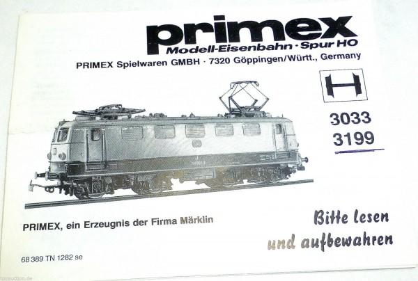 Anleitung Märklin PRIMEX 3033 3199 68 389 TN 1282 se å