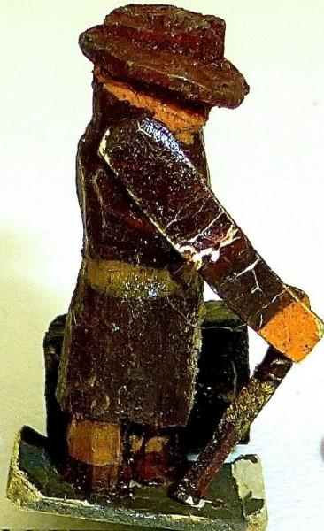 Reisender mit Koffer Preiser (?) Holzfiguren 50er Jahre H0 1:87 PH018 å *