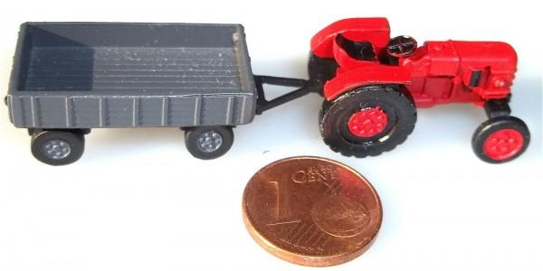Traktor + Anhänger 1/120 TT Metall Kleinserie DDR # å *