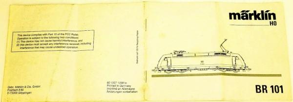 BR 101 Anleitung Märklin 60 1207 1098 lo H0 å*