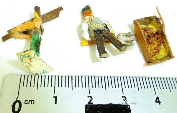 2 Bahnarbeiter Bauarbeiter Preiser (?) Holzfiguren 50er Jahre H0 1:87 å *