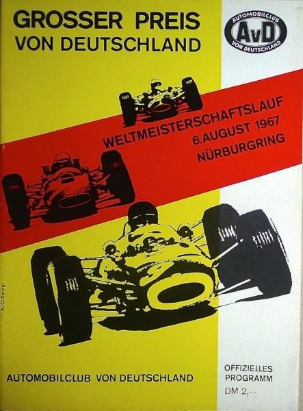6. August 1967 Grosser Preis von Deutschland Nürburgring PROGRAMMHEFT å IV06 *