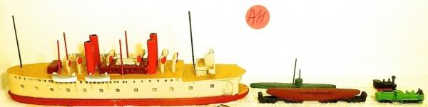 Dampfschiff U Boot Transport Bahn VG15 BA 1 KAL Schiffsmodell 1:1250 SHPA11 å *