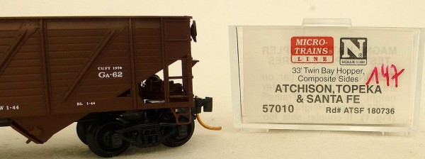 Micro Trains Line 57010 ATSF 180736 33' Twin Bay Hopper 1:160 OVP #i147 å