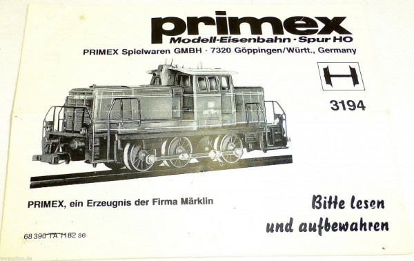 Anleitung Märklin Primex 3194 68 390 TA 1182 se å