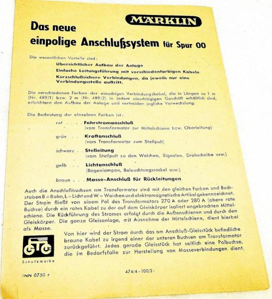 Märklin Anleitung Das einpolige Anschlußsystem für 00 INN 0750 r 474/4 # å