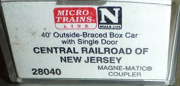 40´ Rib Side Boxcar CENTRAL RR N.J. 17235 Micro Trains Line 28040 N 1:160 C å*