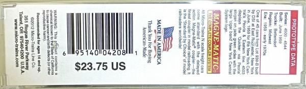 New York Central 50 Standard Box Car Micro Trains 031 00 400 1:160 OVP HV3 å *