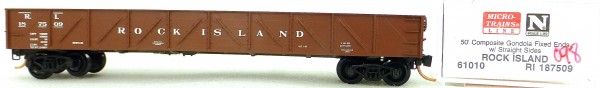 Micro Trains Line 62010 Rock Island 187509 50' Gondola Fix Ends 1:160 OVP #i098 å