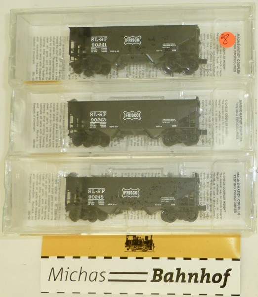 3-tlg Micro Trains 88012 FRISCO 33' Twin Bay Hopper Notched End OVP 1:160 #Z8 å