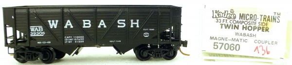 Micro Trains Line 57060 Wabash 39395 33' Twin Bay Hopper 1:160 OVP #i136 å
