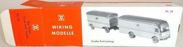 54 Großer Post Lastzug mit Anhänger Postlastzug Wiking Karton leer å *