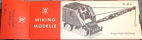 66m Krupp - Ardelt - Mobilkran Räder Haken Wiking Karton leer å *