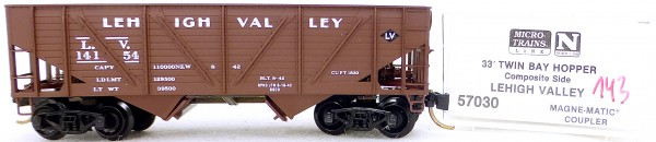 Micro Trains Line 57030 Lehigh Valley 14154 33' Twin Bay Hopper 1:160 OVP #i143 å