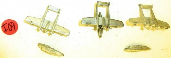 3x Flugzeug unlackiert zu Schiffsmodell 1:1250 SHPI09 å *