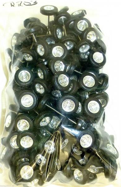 100 x Radsatz 27mm Achsbreite silber Felge Plastik Herpa Albedo 1:87 R253 å *