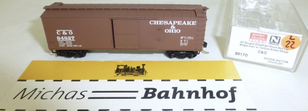 MICRO TRAINS 39170 C&O 84827 40' Wood Sheathed Boxcar N 1:160 OVP #22L å
